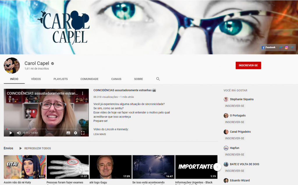 Carol Capel - Canal do Youtube